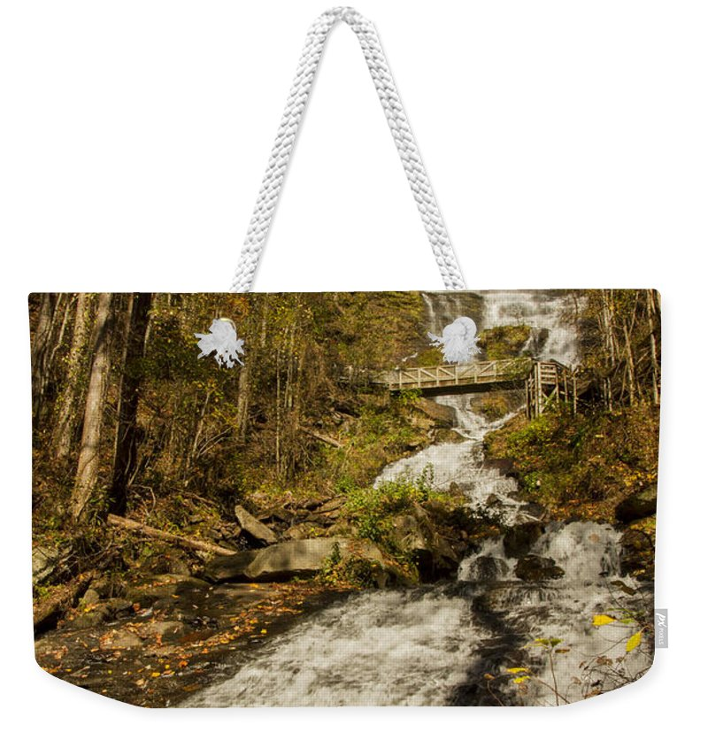 Amicola Falls Weekender Tote Bag featuring the photograph Amicola Falls Gushing by Barbara Bowen