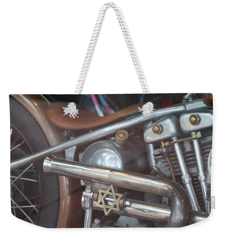 Motorcycle Weekender Tote Bag featuring the photograph Ami's Bike by Rob Hans