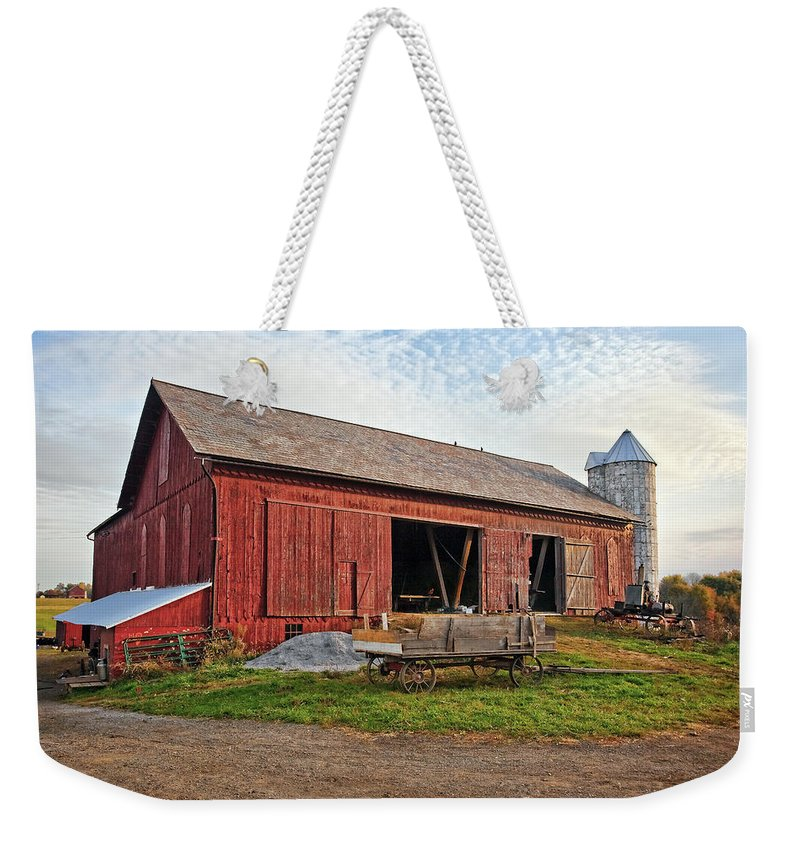 Architecture Weekender Tote Bag featuring the photograph Amish Barn At Sunrise by Marcia Colelli