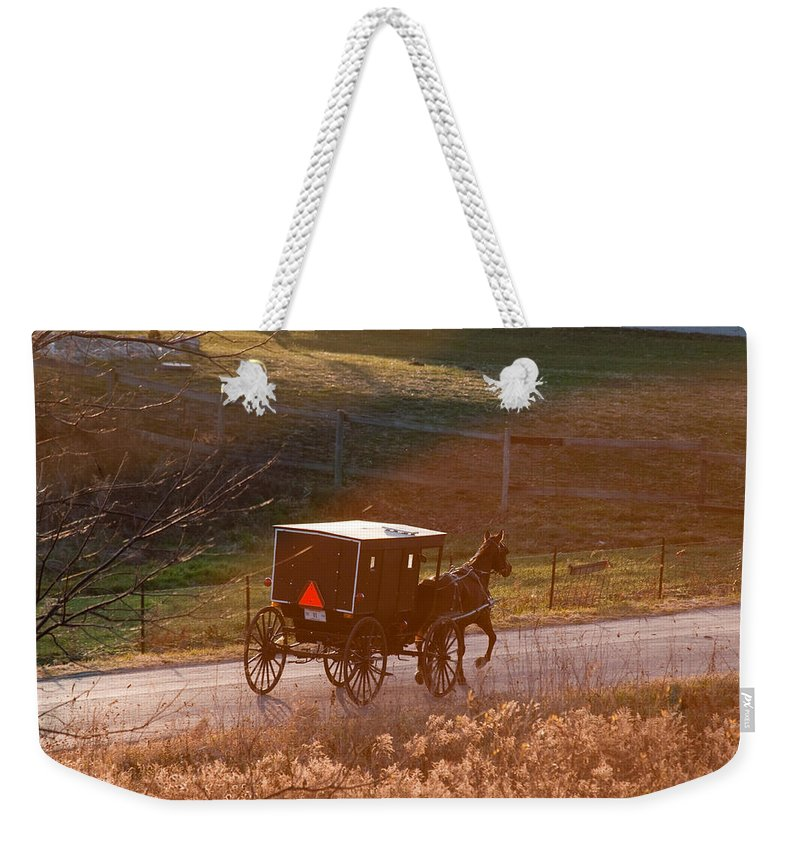 Amish Weekender Tote Bag featuring the photograph Amish Buggy Afternoon Sun by David Arment