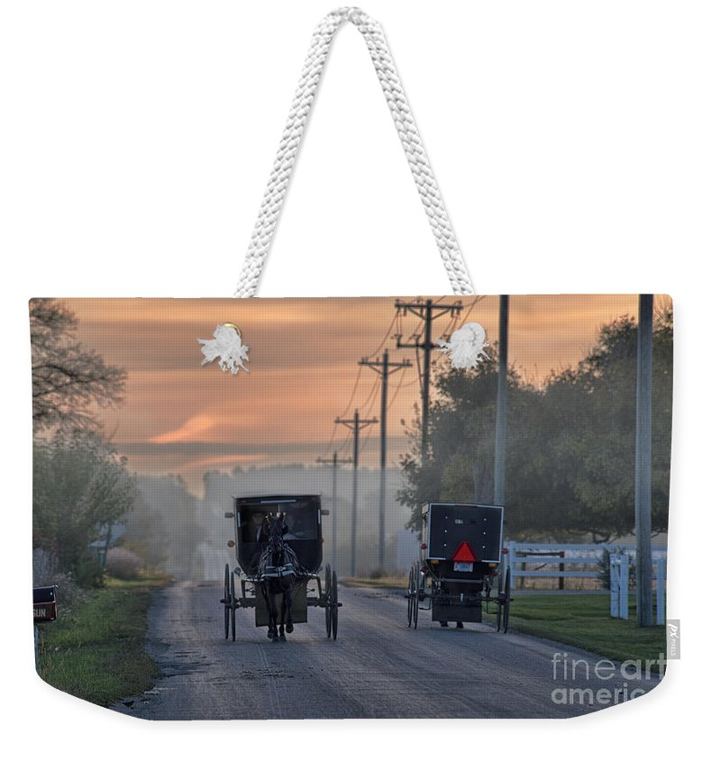Amish Weekender Tote Bag featuring the photograph Amish Buggy Sunday Morning by David Arment