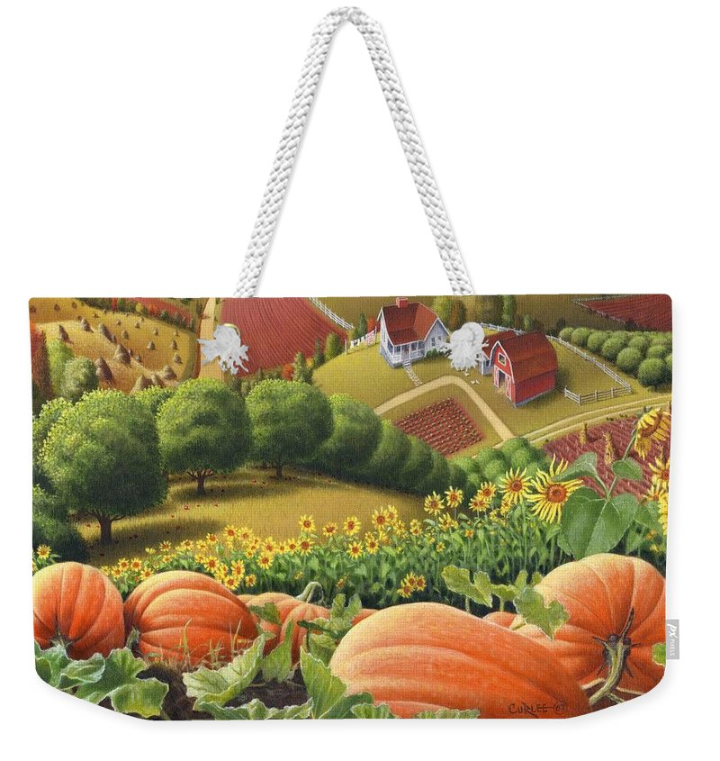 Pumpkin Weekender Tote Bag featuring the painting Amish Country T Shirt - Pumpkin Patch Country Farm Landscape 2 by Walt Curlee