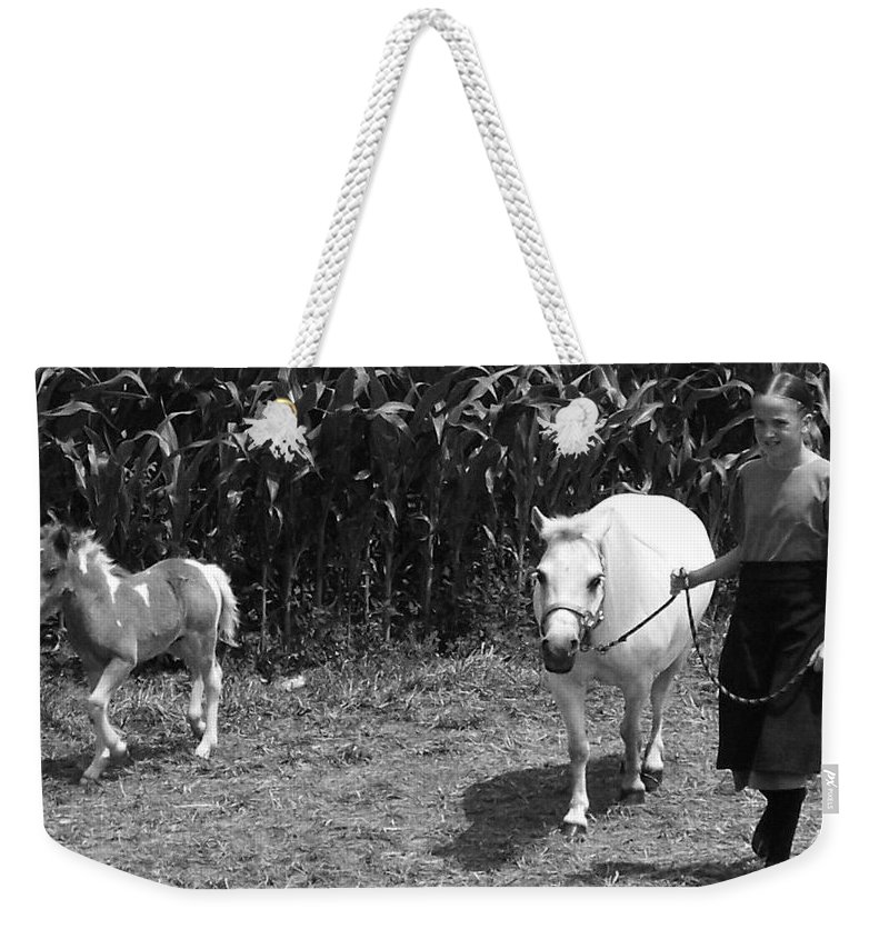 Amish Girl With Her Colt Weekender Tote Bag featuring the photograph Amish Girl With Her Colt by Eric Schiabor