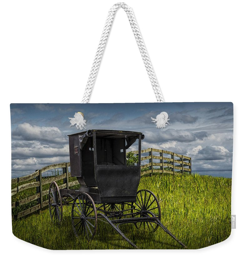 Amish Weekender Tote Bag featuring the photograph Amish Horse Buggy by Randall Nyhof