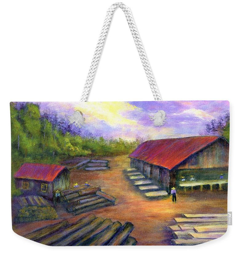 Amish Weekender Tote Bag featuring the painting Amish Lumbermill by Gail Kirtz