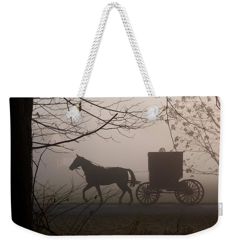 Amish Buggy Weekender Tote Bag featuring the photograph Amish Morning 1 by David Arment