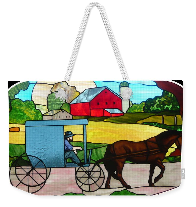 Stained Glass Weekender Tote Bag featuring the photograph Amish Stained Glass by Barb Montanye Meseroll