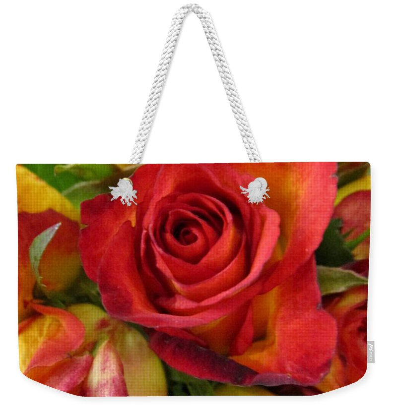 Roses Weekender Tote Bag featuring the pyrography Among The Rose Leaves by Rosita Larsson