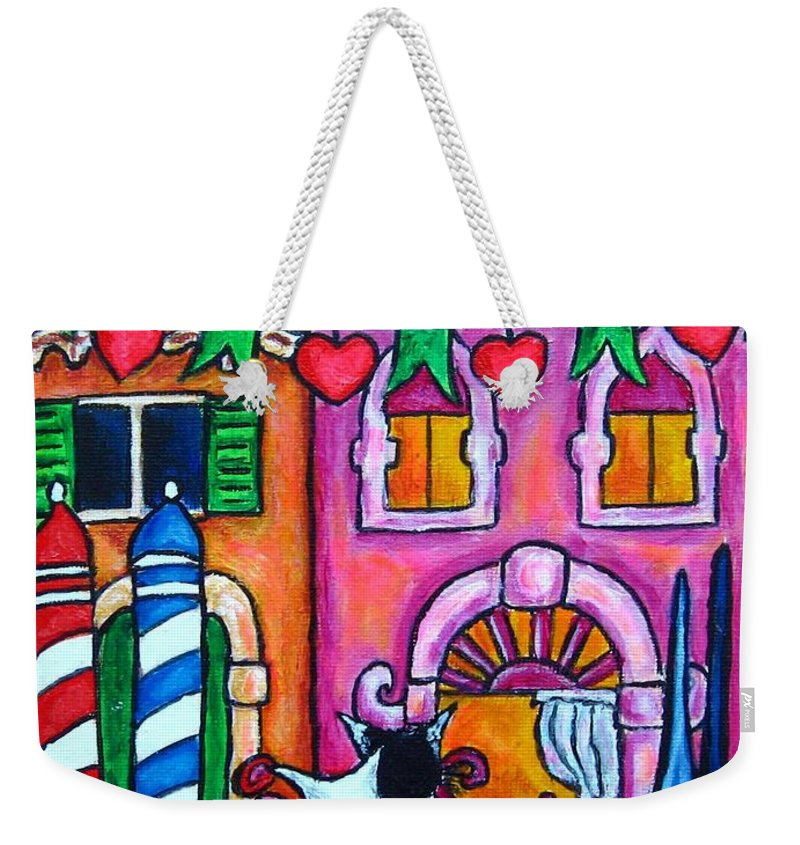 Cats Weekender Tote Bag featuring the painting Amore In Venice by Lisa Lorenz