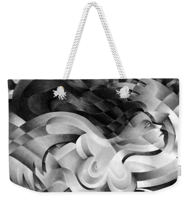 Art Weekender Tote Bag featuring the drawing Amore by Myron Belfast