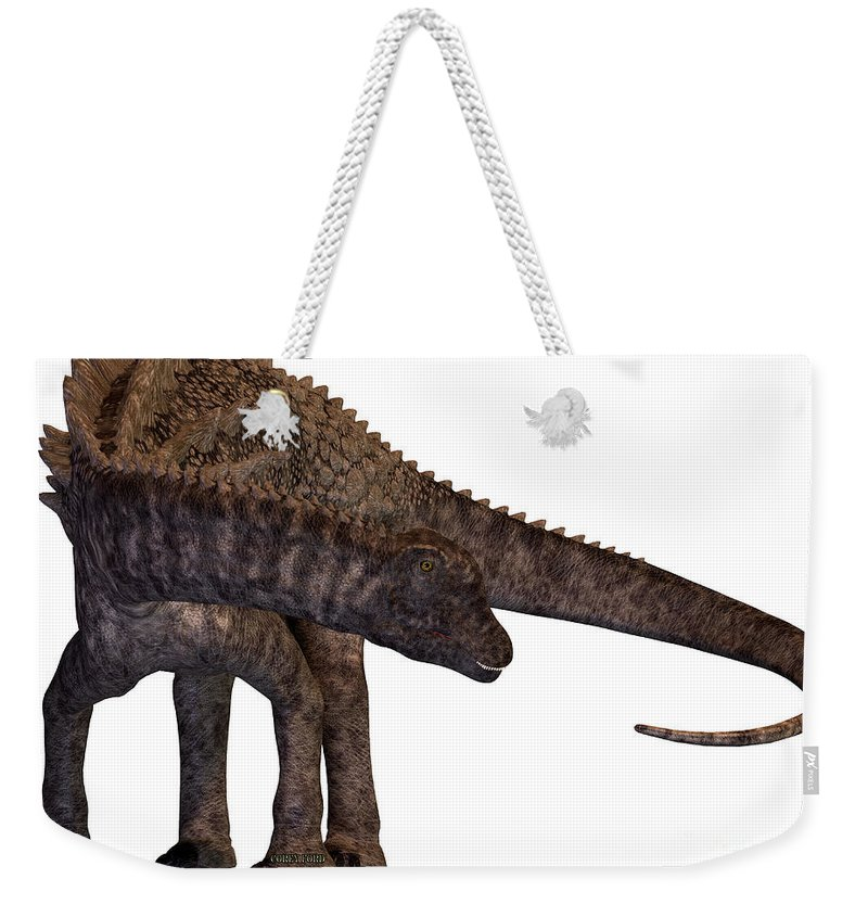 Ampelosaurus Weekender Tote Bag featuring the painting Ampelosaurus Armored Dinosaur by Corey Ford
