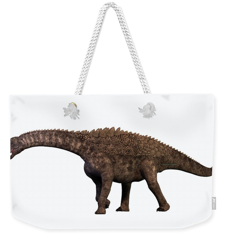 Ampelosaurus Weekender Tote Bag featuring the painting Ampelosaurus On White by Corey Ford