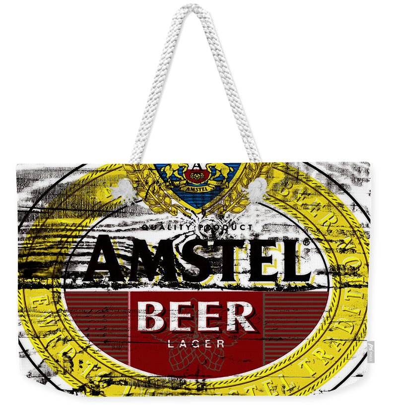 Amstel Weekender Tote Bag featuring the mixed media Amstel Beer Sign by Brian Reaves