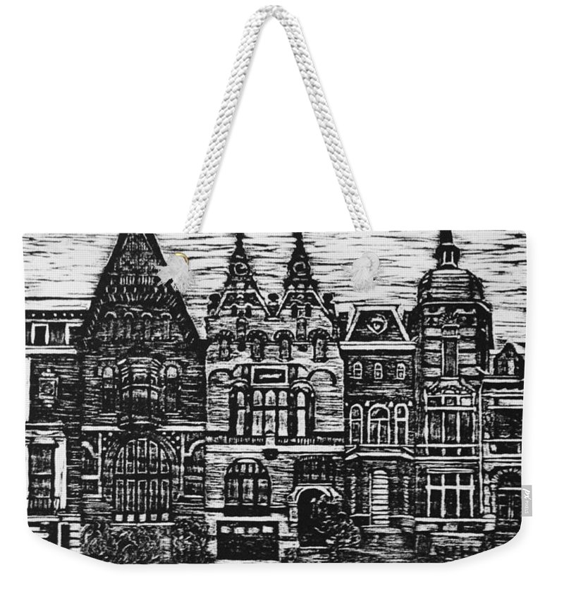 Amsterdam Weekender Tote Bag featuring the mixed media Amsterdam Woodcut by Lauren Ullrich