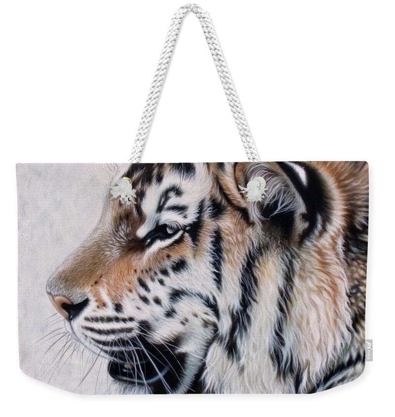 Acrylic Weekender Tote Bag featuring the painting Amur by Sandi Baker