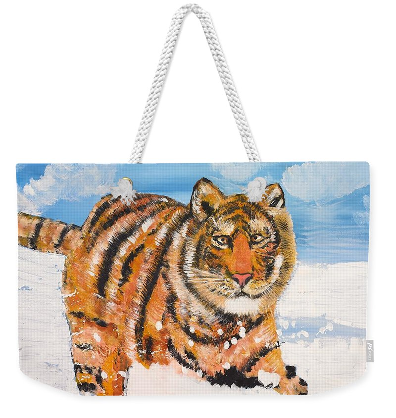 Cat Weekender Tote Bag featuring the painting Amur Tiger by Valerie Ornstein