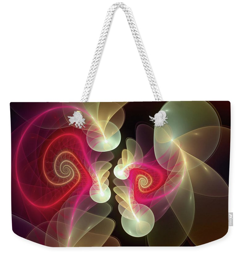 Abstract Weekender Tote Bag featuring the digital art Amusement by Casey Kotas