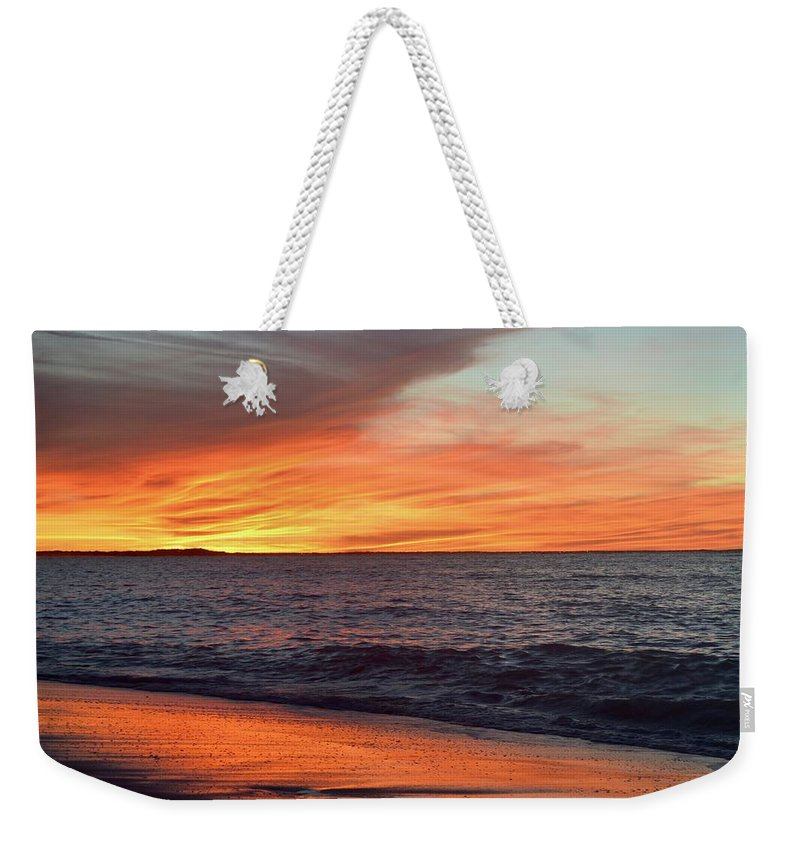 Sunset Weekender Tote Bag featuring the photograph An Absolute Fire In The Sky by Daniel Taylor