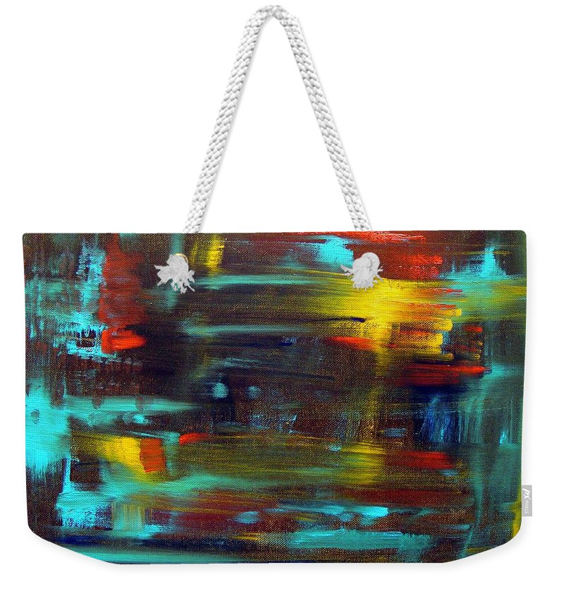 Red Blue Yellow Gold Brown Cad Orange Eyes Obama Oscar  Face Thought Emotions Weekender Tote Bag featuring the painting An Abstract Thought by Jack Diamond