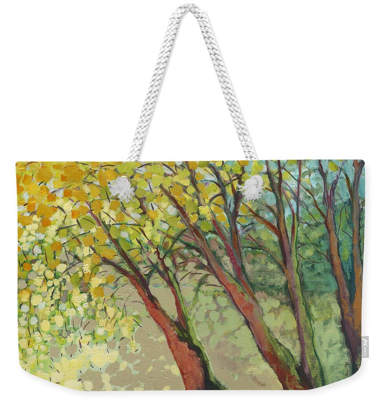 Tree Weekender Tote Bag featuring the painting An Afternoon At The Park by Jennifer Lommers