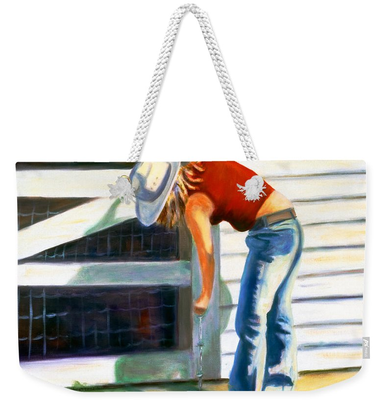 Red Weekender Tote Bag featuring the painting An American Girl by Shannon Grissom