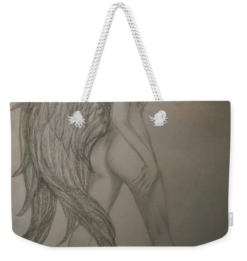 Angel Weekender Tote Bag featuring the drawing An Angel by Glory Fraulein Wolfe