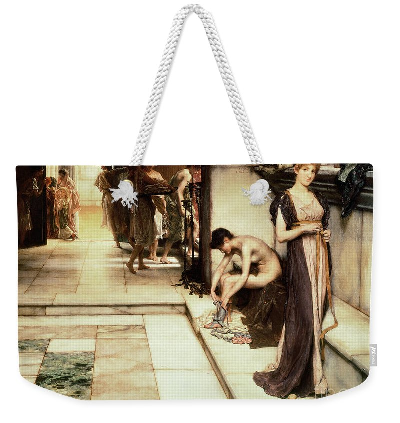 Apodyterium Weekender Tote Bag featuring the painting An Apodyterium by Sir Lawrence Alma-Tadema