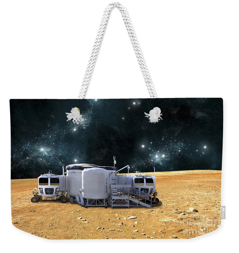 Barren Weekender Tote Bag featuring the digital art An Artists Depiction Of A Planetary by Marc Ward