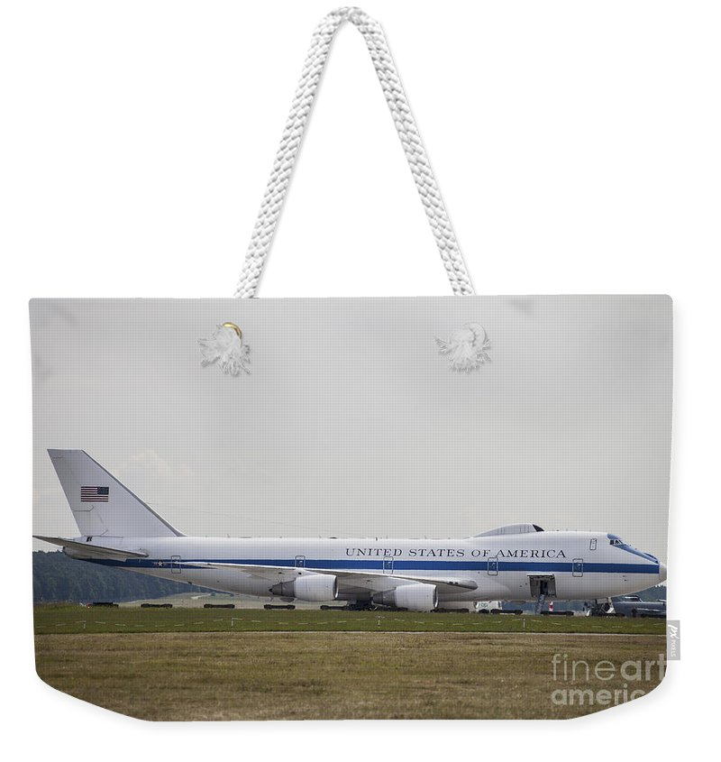 Horizontal Weekender Tote Bag featuring the photograph An E-4 Advanced Airborne Command Post by Timm Ziegenthaler