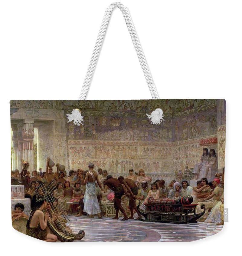 Egyptian Weekender Tote Bag featuring the painting An Egyptian Feast by Edwin Longsden Long