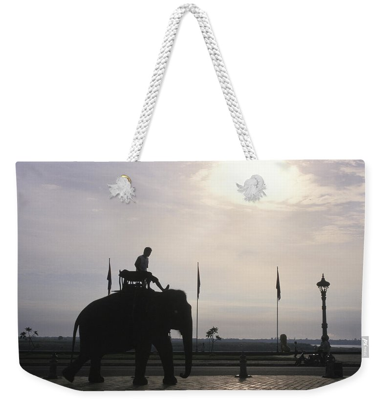 Royal Palace Weekender Tote Bag featuring the photograph An Elephant At The Royal Palace by Richard Nowitz