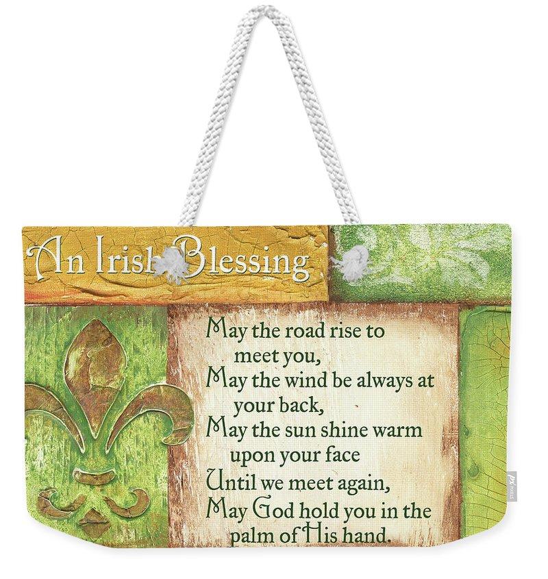 Irish Weekender Tote Bag featuring the painting An Irish Blessing by Debbie DeWitt
