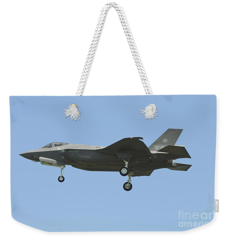Horizontal Weekender Tote Bag featuring the photograph An Italian F-35a Aircraft by Riccardo Niccoli