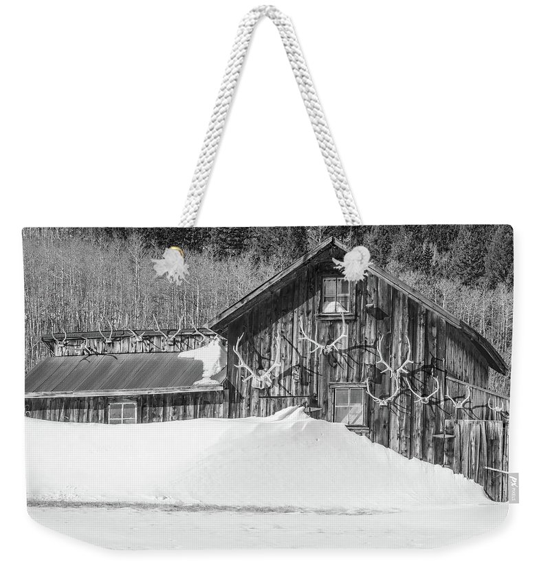 Historic Barns Weekender Tote Bag featuring the photograph An Obdurate Sinner Lives Here. B And W  by Bijan Pirnia