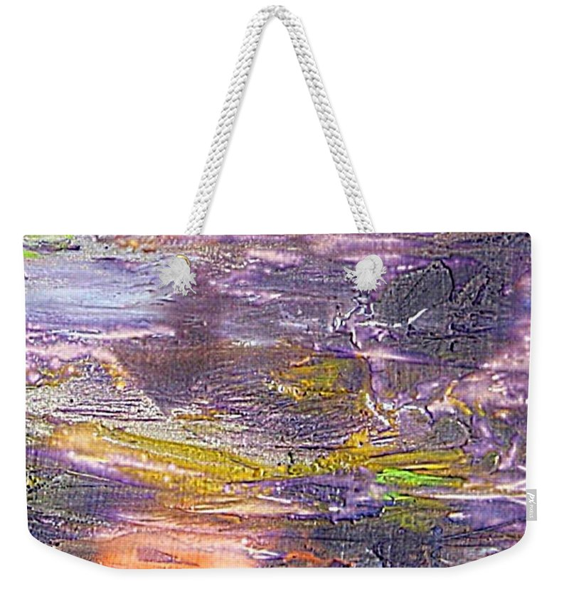 Old Board Weekender Tote Bag featuring the painting An Old Board by Dragica Micki Fortuna