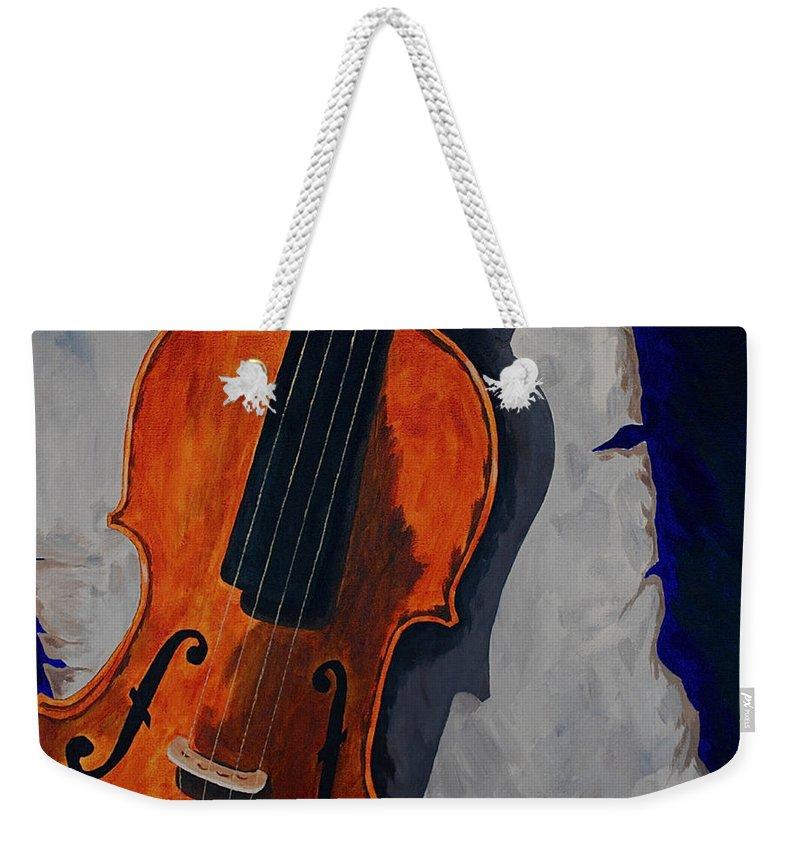 Violin Music Old Song Weekender Tote Bag featuring the painting An Old Song by Herschel Fall