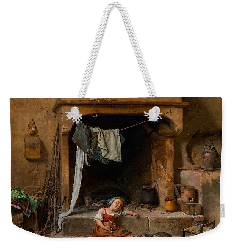 Gaetano Chierici ( Reggio Emilia 1838 � 1920 ) Weekender Tote Bag featuring the painting An Opportune Moment Girl by MotionAge Designs