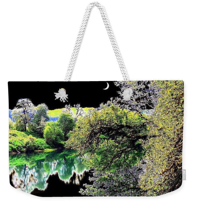 Umpqua River Weekender Tote Bag featuring the digital art An Umpqua Night by Will Borden