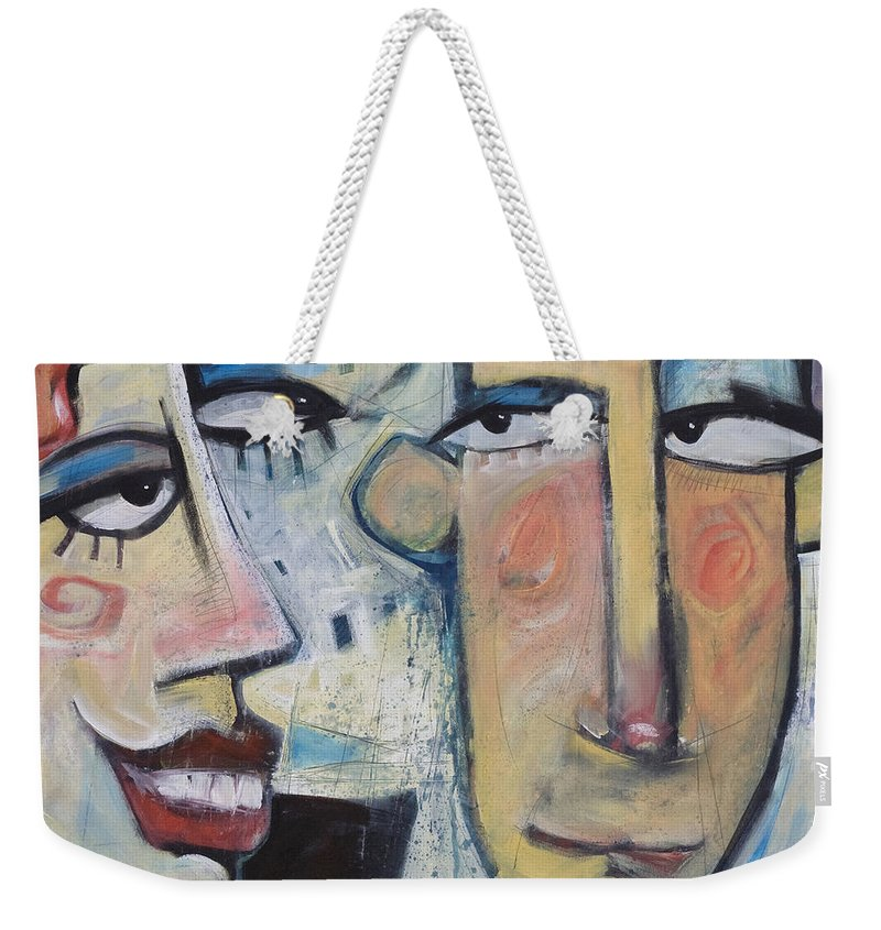 Man Weekender Tote Bag featuring the painting An Uncomfortable Attraction by Tim Nyberg