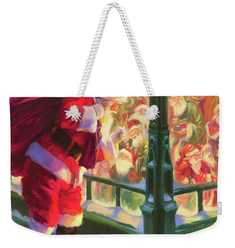 Christmas Weekender Tote Bag featuring the painting An Unforeseen Encounter by Steve Henderson