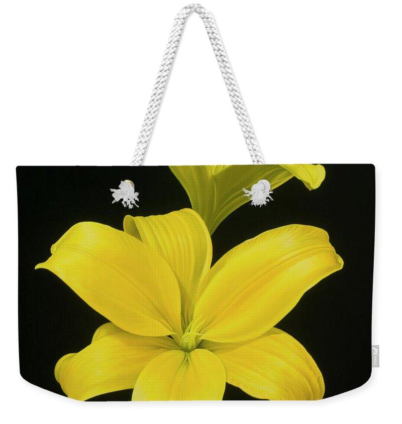 Lilies Weekender Tote Bag featuring the painting Anastacias Lilies by Gary Hernandez