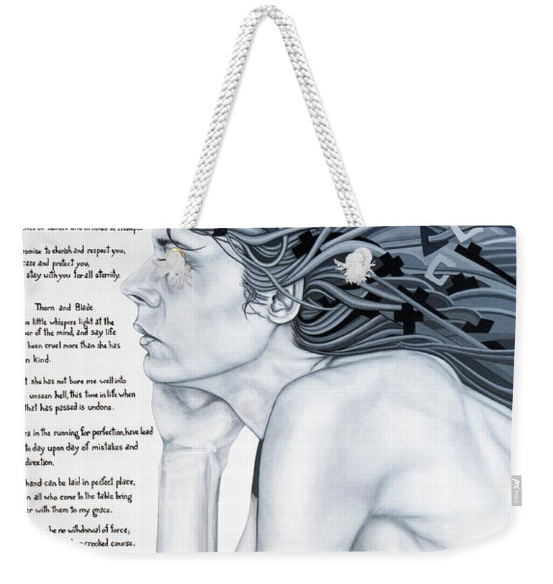Poetry Weekender Tote Bag featuring the painting Anatomy Of Pain by Judy Henninger