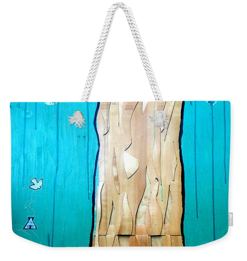 Tree Weekender Tote Bag featuring the mixed media Ancestral Tree Indians To The Sea by Genevieve Esson
