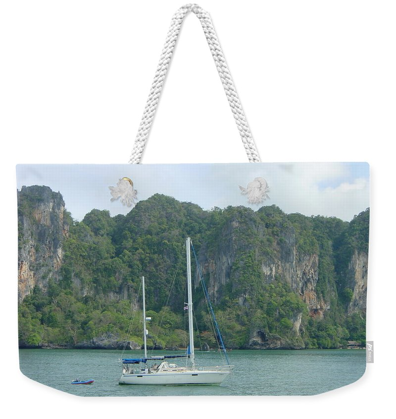 Sail Boat Weekender Tote Bag featuring the photograph Anchored In Paradise by D Turner