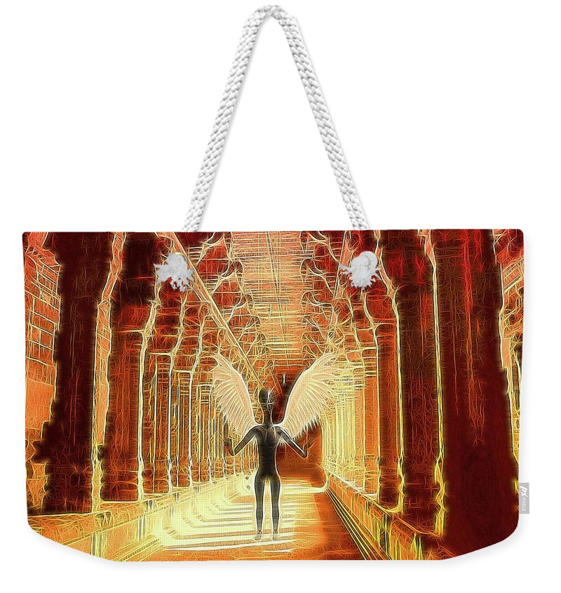 Ufo Weekender Tote Bag featuring the digital art Ancient Alien Angel by Raphael Terra