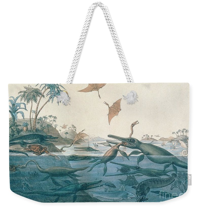 Duria Antiquior Weekender Tote Bag featuring the drawing Ancient Dorset by Henry Thomas De La Beche