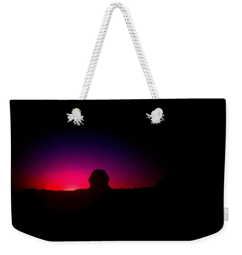 Sphinx Weekender Tote Bag featuring the photograph Ancient Evenings by Gary Wonning