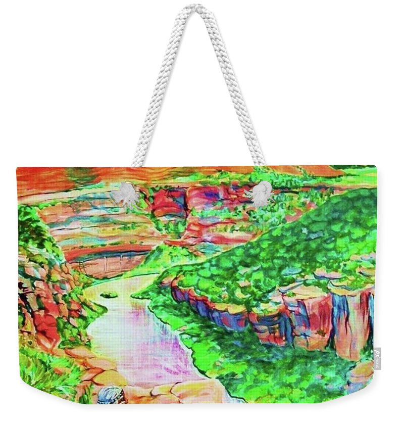 Dolores River Basin Hwy 414 Southwestern Colorado Fantasy Of Anasazi Indian Sitting On Cliff Viewing The River Weekender Tote Bag featuring the painting Ancient One views river by Annie Gibbons