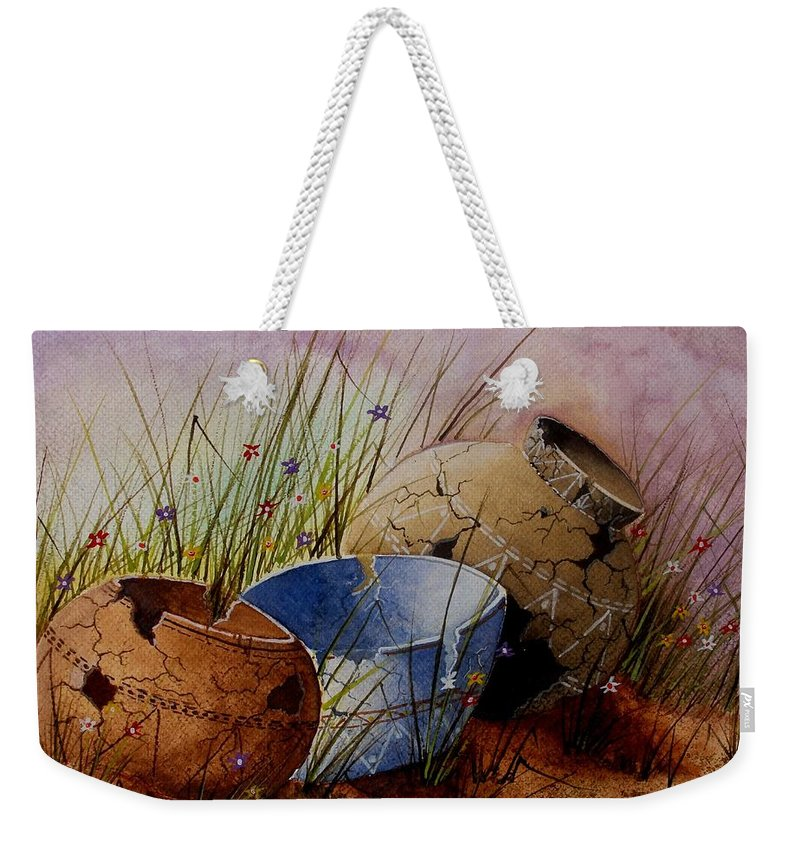American Weekender Tote Bag featuring the painting Ancient Relics A Paint Along With Jerry Yarnell' Study. by Jimmy Smith