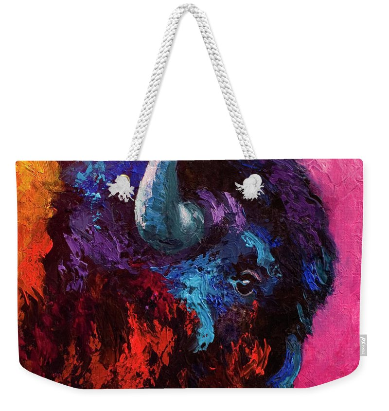 Bison Weekender Tote Bag featuring the painting Ancient Soul by Marion Rose